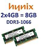 8GB Dual Channel Kit HYNIX original 2 x 4 GB 204 pin DDR3-1066 (PC3-8500) 256Mx8x16 double side (2x HMT351S6AFR8C-G7) für Apple MacBook 6,1 (Late 2009) MacBook Pro 5,2 (Early 2009) MacBook Pro 5,2 5,3 5,4 5,5 (Mid 2009) iMac 9,1 (Early 2009) iMac 10,1 11,1 (Late 2009, Max 4x4GB) Mac mini 3,1 (Early + Late 2009)