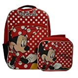 Disney Minnie Mouse 16 Full Size Backpack with Detachable Lunch Bag