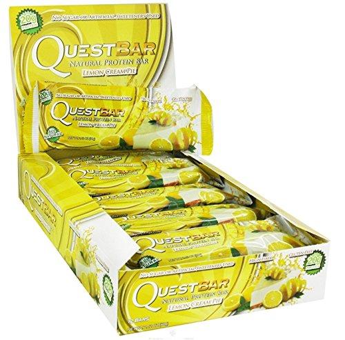 Quest Bar Lemon Cream Pie - Protein Nutrition Fiber Low Carb Supplement - 12 Bars