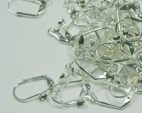 48 Leaver Back Silver-plated Brass Earwires 18mm Leverback with 4mm Cup and Open Loop. Pkg of 24 Pairs.