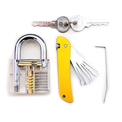 Bullkeys Transparent Padlock with Yellow Utility Hardware Combination for Training Practice