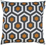 JinStyles Cotton Canvas Hexagon / Honeycomb Accent Decorative Throw Pillow Cover (Grey, Orange, White, Square, 1 Cover for 18 x 18 Inserts)