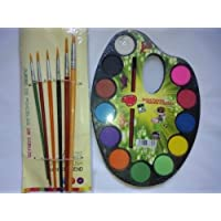 Supermall Water Color Artist Palette With 6 Paint Brush And Oil Pastels And 12 Colours