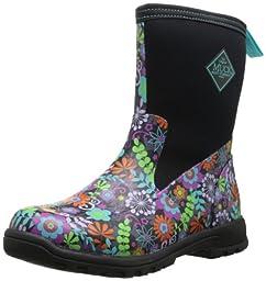 MuckBoots Women\'s Breezy Mid Boot,Black/Floral,5 M US