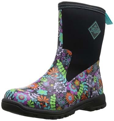 MuckBoots Women's Breezy Mid Boot,Black/Floral,5 M US