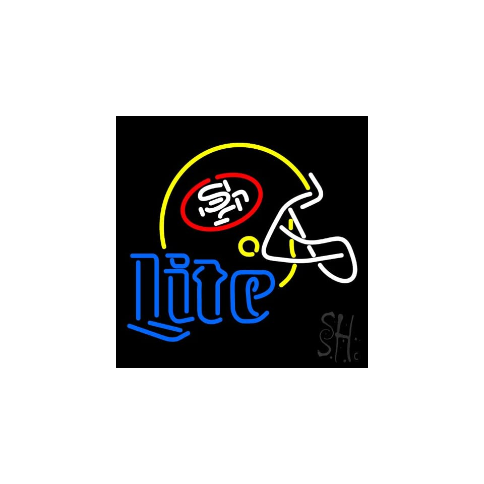 """Miller Lite San Francisco Helmet Outdoor Neon Sign 24"""" Tall x 24"""" Wide x 3.5"""" Deep  Business And Store Signs"""