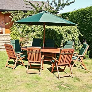 Billyoh Prestige Oval Ext 8 Seat Wooden Garden Furniture Set With Green Cushions Parasol