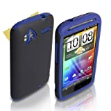 Dual Combo Hard And Soft Silicone Gel Case For The HTC Sensation / Sensation XE Blue / Black With Screen Protector Filmby Yousave