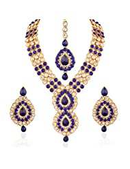 I Jewels Traditional Gold Plated Jewellery Set With Maang Tikka For Women IJ253Bl (Blue)