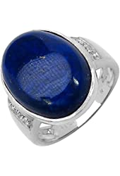 18x13mm Oval Lapis Cabachon and 1.30 MM Round White Diamond Ring in 925 Sterling Silver. Ring Size 7.25