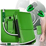 (Green) Samsung C3520 Protective PU Leather Belt Holster Pouch Case Cover Holder And Premium Quality in Ear Buds Stereo Hands Free Headphones Headset with Built in Microphone Mic and On-Off Button By Fone-case