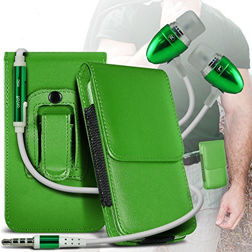 Green Samsung Galaxy S Blaze 4G PU Leather Belt Holster Pouch Case Cover Holder And Ear Buds Stereo Hands Free Headphones Headset with Built in Microphone Mic and On-Off Button By ONX3