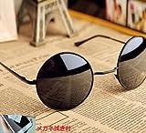 【 おまけ 有り 】 丸 フレーム 黒色 サングラス 伊達 めがね MONIKS(モニクス) オリジナル 眼鏡 拭き セット