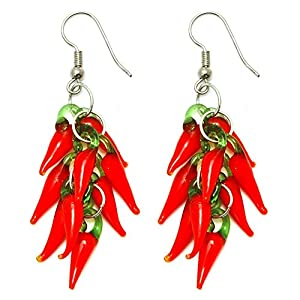 Funky Glass Red Hot Chilli Peppers Drop Earrings