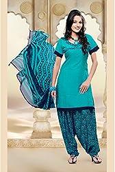 SareeShop Women's Georgette Semi-Stitched Dress Material (B2B1073_Green_Free Size)