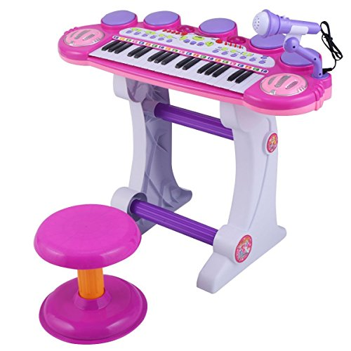 Costzon-Pink-Products-Musical-Kids-37-Key-Electronic-Keyboard-Organ-Piano-Microphone-Synthesizer-Stool