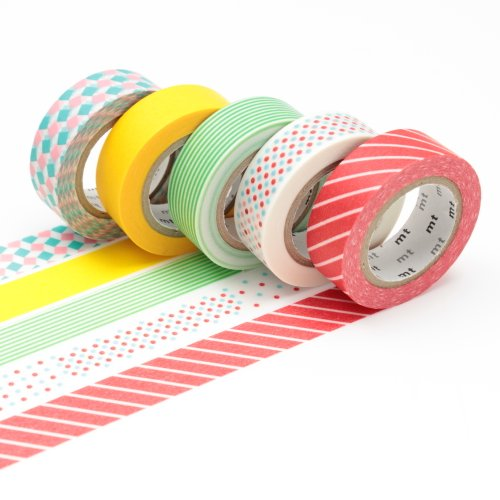Kamoi kakoshi Masking Tape Gift Box Pop - 15mm Width - 10mm Roll Box In 5 Pieces