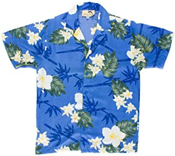 Men's Blue Hibiscus Flower Print Hawaiian Aloha Shirt, Medium