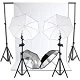 RPGT® Photography Camera Photo Studio 2.8x3M Background Tripod Support Stand Kit with 3x6M White Backdrop 125W White Black Silver Four Umbrella Continuous Lighting