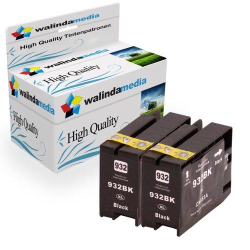 Walindamedia 2x Druckerpatronen Ersatz für Hp 1x 932 XL Tinte black, je 1.000 Seiten Leistung Ersatz für Hp CN053AE ( 932 xl , hp932xl) , schwarz, bk, Original Princeserie