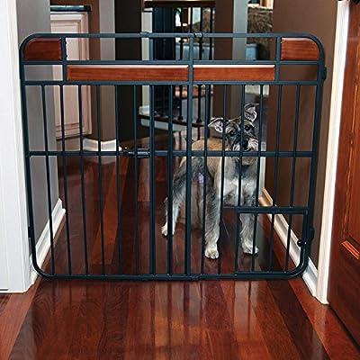 Design Studio Big Tuffy Expandable Gate with Small Pet Door - Black