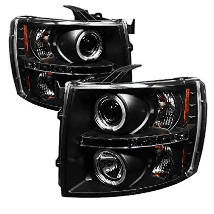 Amazon.com: Spyder Auto Chevy Silverado 1500/2500/3500 Black Halogen LED Projector Headlight: Automotive