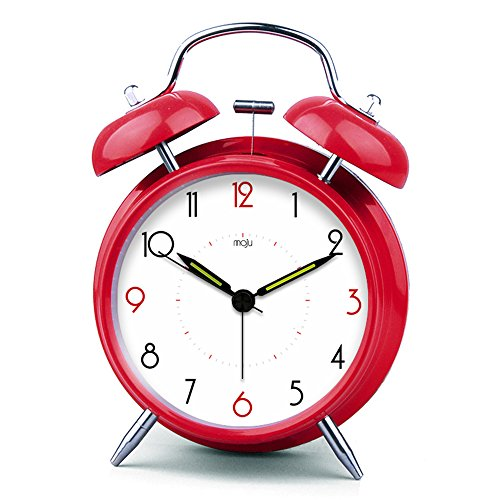 iCasso 4 Big Numbers Quiet Non-ticking Silent Quartz Analog Metal Twin Double Bell Alarm Clock With Loud Alarm and Nightlight with 4pcs iCasso Cable Ties(Red)