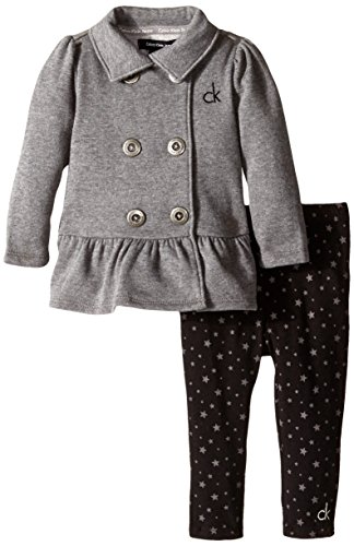 Calvin Klein Baby Girls' Gray Jacket with Printed Pants, Gray, 24 Months