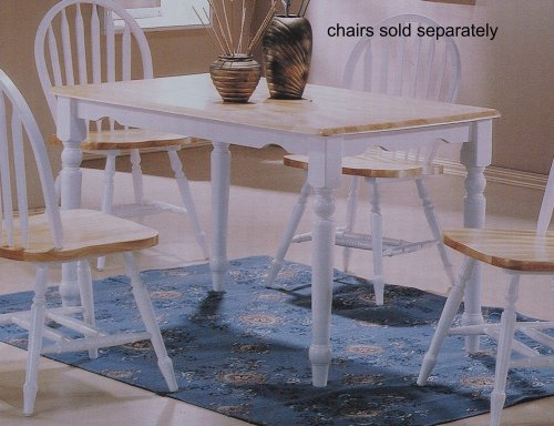 Country Style White & Natural Finish Solid Oak Wood Top Dining Table