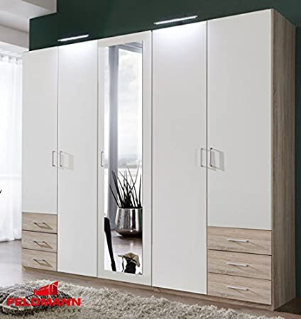 Kleiderschrank Schrank mit Spiegel 627785 eiche sägerau / weiß 5-turig 225cm