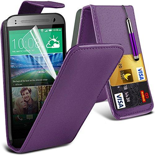 (Pourpre) HTC One Mini 2 protection Faux Carte de crédit / débit de chiquenaude de cuir Housse étui & Protecteur d'écran LCD de la Garde par * Aventus *