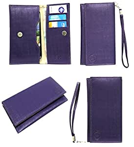 Jo Jo A5 D4 Leather Wallet Universal Pouch Cover Case For Sony Xperia C6502 Purple