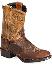 Old West Toddler-Boys\' Ultra Flex Thunder Cowboy Boot Round Toe Brown 7.5 D(M) US