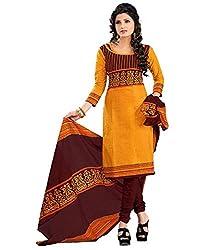 Fashionx Women Cotton Printed Unstitched Dress Material(AP956_Gold_Free Size)