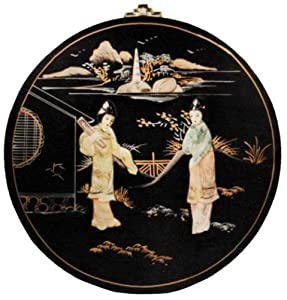 Chinese black lacquer soapstone wall plaque - round
