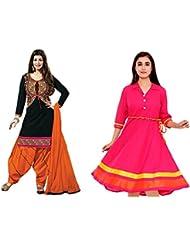 Sky Global Women's Regular Wear Dress Material And Kurti (Combo Pack Of 2)(SKY_DK_9035)(SKY_547_Black)(SKY_7001...
