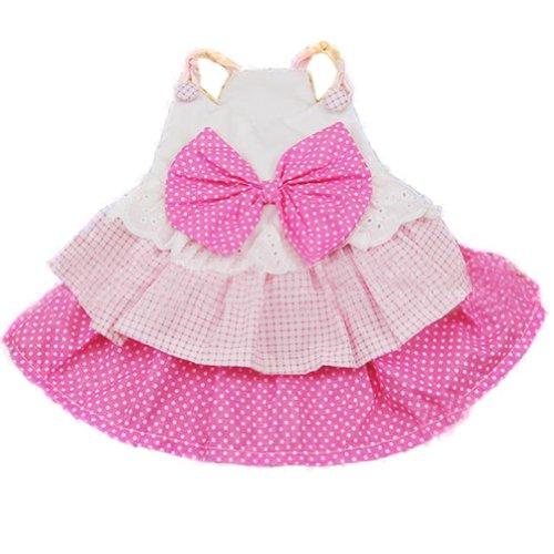 Urparcel Pet Dog Puppy Summer Bow Multillayer Princess Dress Clothes Pink Xs