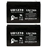 2x Pack - Homelite HM20P5E Battery - Replacement UB1270 Universal Sealed Lead Acid Battery (12V, 7Ah, 7000mAh, F1 Terminal, AGM, SLA) - Includes 4 F1 to F2 Terminal Adapters