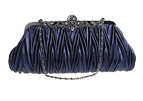 Pulama®Womens Vintage Satin Pleated Envelope Evening Cocktail Wedding Party Handbag Clutch - Elf of Bolsas (17 Colors) (Navy Blue) (Vintage Clutch compare prices)