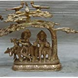 Niliyashoppe Standing Undertree Lord Radha Krishna Brass Statue Sculpture, Metal ( Golden, 8 Inch )