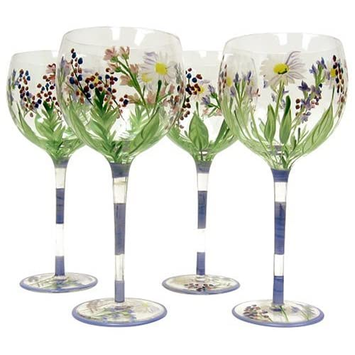 Amazon.com | Block Crystal Wildflower Balloon Wine Glasses