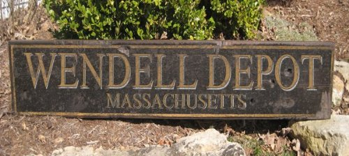 WENDELL DEPOT, MASSACHUSETTS - Rustic Hand Painted Wooden Sign - 9.25 X 48 Inches