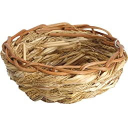 Natural Open Finch Nest with Leaves - Small