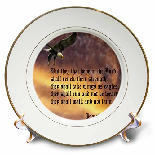3dRose cp_27419_1 Isaiah 40-31 Bible Verse with Eagle Against a Troubled Sky-Porcelain Plate, 8-Inch