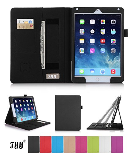 iPad Air 2 (iPad 6) Case Cover, FYY® Premium Leather Case Smart Cover with Card Slots, Pocket, Elastic Hand Strap and Stylus Holder for Apple iPad Air 2 (iPad 6) Black (With Auto Wake/Sleep Feature)