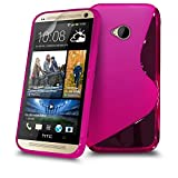 HTC One M7 Hot Pink S Line Silicone Grip Series Wave Gel Case Skin Cover Screen Protector & Polishing Cloth BY SHUKAN, (HOT PINK)