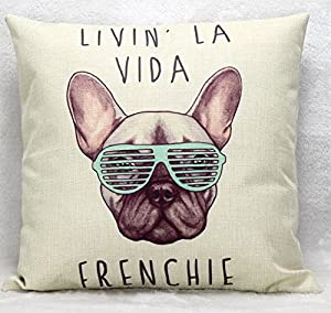 "Yecz Cotton Linen Square Decorative Cushion Cover Sofa Throw Pillowcase 18"" x 18""Dog by buoluo"