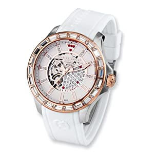 Rose Ip-pltd Wht Strap Stainless Steel Automatic Watch by Charles Hubert Paris Watches, Best Quality Free Gift Box Satisfaction Guaranteed
