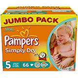 Pampers Simply Dry Gr.5 Junior 11-25kg Jumbo Box, 2er Pack (2 x 66 Windeln)