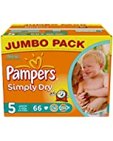 Pampers Simply Dry Couches Junior 11-25 kg Taille 5 Format Jumbopack x 66 Lot de 2